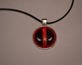 Deadpool personality Cabochon Glass Silver Pendant Leather Necklace