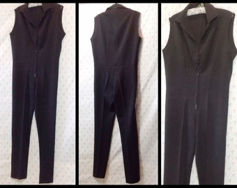 Fabulous Vintage Black nylon ribbed jumpsuit/catsuit/grease/mod/rock'n'roll