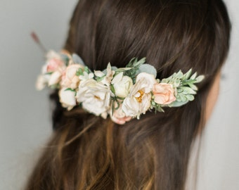 Bridal Flower Comb- Blush bridal headpiece- Back Flower Comb- Back Headpiece- Ivory Wedding Hair- Floral Hair Comb- Flower Crown- Circlet