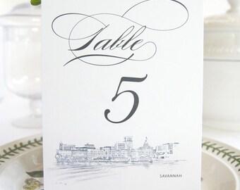 Savannah Skyline Table Numbers (1-10)