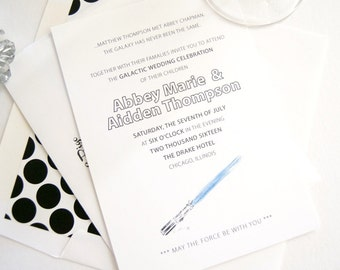 Star Wars Inspired Wedding Invitations, Lightsaber Invitations (Sold in Sets of 10 Invitations, RSVP Cards + Envelopes)