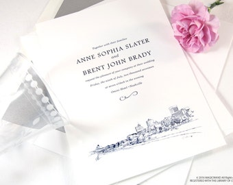 Memphis Skyline Pyramid View Wedding Invitations Package (Sold in Sets of 10 Invitations, RSVP Cards + Envelopes)