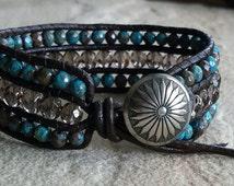 Beaded Leather, Cuff Bracelet, Boho Chic, Wrap Bracelet, w/ Smokey Quartz, Flower Agate, Semi Precious Gemstone Beads & Silver Concho Button