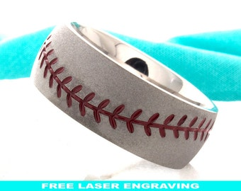 Titanium Ring,Titanium Baseball Wedding Ring,Mens Wedding Band,Titanium Baseball Wedding Band,8mm,Baseball Ring,Titanium Handmade Sport Band