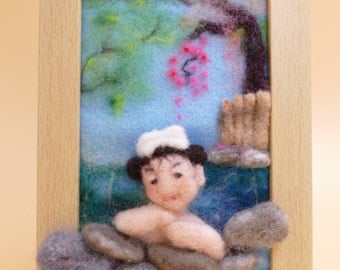 Felted Painting,  Needle-felted Painting, Cherry Blossom, Felted Portrait, Japanese Hotspring, Handmade Gift