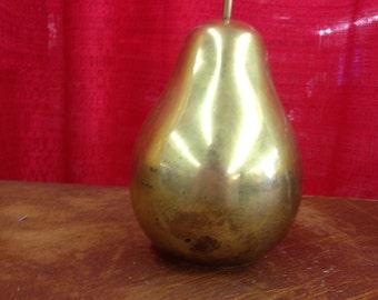Hollywood Regency, Vintage Brass Single Pear Figurine, Kitchen decor, Fruit, Fruits, Cottage Chic Decor