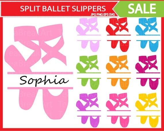 Split Ballet Slippers Clipart Monogram Cutting By Teabreakart