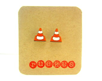 Construction Cone Stud Earrings, Construction Jewelry, Traffic Cone, Accessories, Construction Party