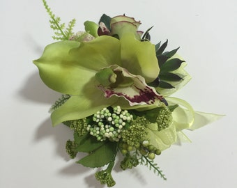 Real Touch Lime Green Cymbidium Orchid, Berries, And Succulent Corsage