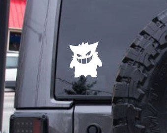 Gengar decal, Pokemon decal, FREE SHIPPING, ghost decal, poison, sticker decal, window decal, laptop decal, kids room, home decor #157