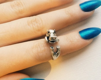 Animal Hippopotamus Hippo Cute Wrap Ring in Antique Silver Adjustable