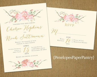 Rustic Ivory and Blush Summer Wedding Invitation,Ivory,Blush Roses,Gold Print,Shimmery,Romantic,Custom,Printed Invitation,Wedding Set