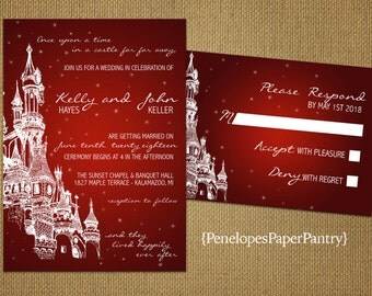 Elegant Fairy Tale Theme Wedding Invitations,Castle,Red,Happily Ever After,Shimmery,Romantic,Unique,Opt RSVP,Customizable With Envelopes