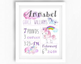 Lilac Nursery Decor, Unicorn Nursery Print, Birth Announcement Wall Art, Personalised Baby Girl Gift, Unicorn Gift, Girls Bedroom Wall Art