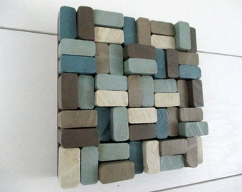 Wood Slice Sculpture - Wooden Slice Sculpture - Blue Wall Sculpture - Wood Wall Art - Wood Wall Hanging - Brown Wood Wall Hanging