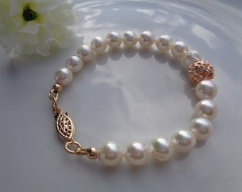 Pearl bracelet, real Akoya pearls and 585 gold filled