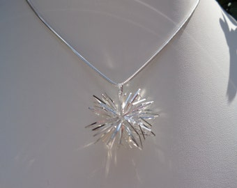 Silver necklace, Sterling Silver Star pendant in 3D