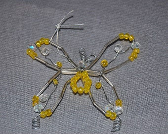 Butterfly beaded ornament ~ Sunshine ~ set of 2