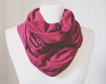 Wine Red Infinity Scarf | Jersey Knit | Double Wrap | Handmade | Maroon | Ruby | Circle Scarf