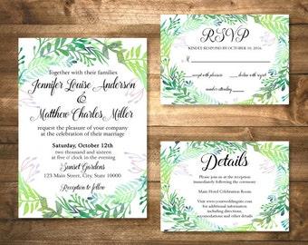 Printable Garden Wedding Invitation Suite, Botanicals Wedding Invitation Set, Watercolor Greenery Wedding Invitation, DIY