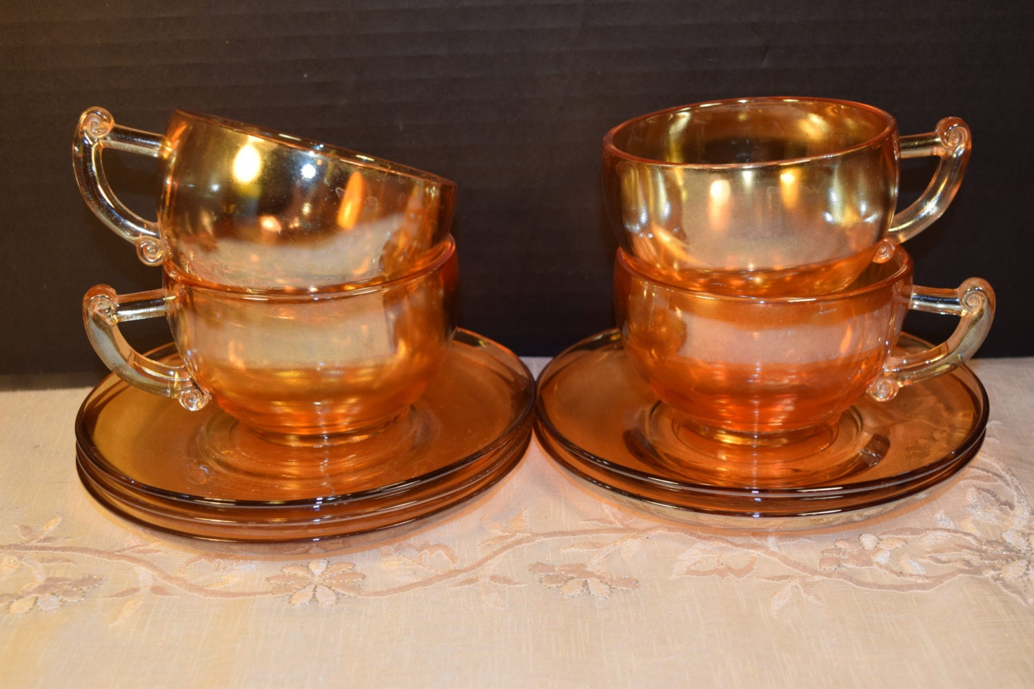 On Sale Jeannette Modern Marigold Cups & Saucers Set ...