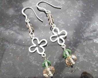 Sterling Silver, Peridot and Golden Shadow Swarovski Crystal Earrings