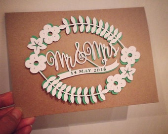 Wedding - Papercut greetings cards - handmade - A6 recycled card - Free UK Shipping