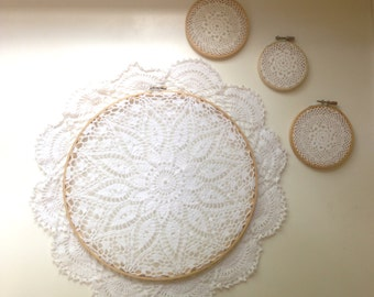 Lace Embroidery Hoop Gallery Wall. Wedding Decor Lace Embroidery Hoop Art. Set of 4 Vintage Doilies Embroidery Hoops Wall Art.