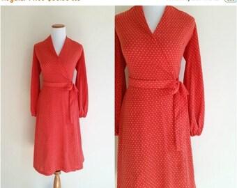 1940's Dress // Vintage 1940s wrap dress // Vintage Jersey Knit 40's Wrap Dress // Poppy red dress