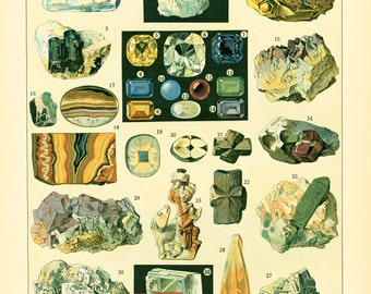 1897 Large Size Precious Stones Gems Crystals Minerals Geology Antique Print Larousse 115 YEARS OLD Decor  Wall Art