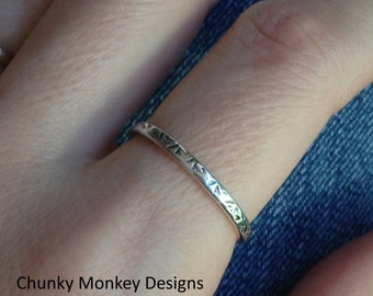Hand Stamped Sterling Silver Spacer Ring for Stacking Rings