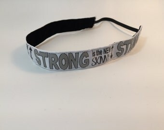 Strong is the New Skinny Headband- Workout Headband- White-7/8 headband- Sport Headband- nonslip- no slip headband