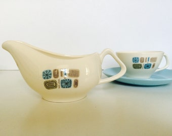 TEMPORAMA CREAMER from Canonsburg Pottery | 1960s Atomic pattern