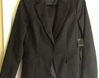 New Tahari woman's ruana jacket blazer sport cotton, polyester, black size 6