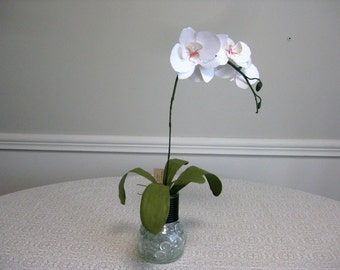 Handmade Paper Orchid in Glass Lightbulb Vase