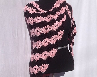 Pink and Black Flower Shawl