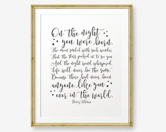 On the night you were born, Newborn Baby Gift, Baby Shower gift, Birth announcement, nursery decor, kid decor, new baby gift