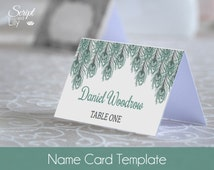 """Peacock Feathers Wedding Name Card 