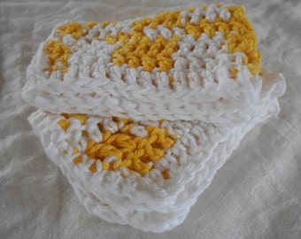 "Set of Two Hand Crocheted Yellow and White Washcloth,Dishcloth, Facecloth 10 1/2"" by 7 1/2"" ( One Price Buys Two)"
