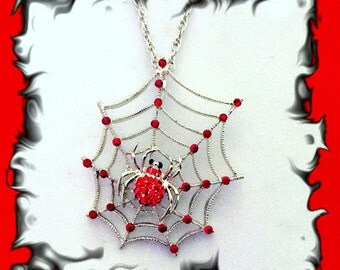 50% SALE Red Spider Necklace..Halloween Necklace..Halloween Jewelry..Spider Web Necklace..Spider Pendant..Spider Jewelry..Costume Accessory