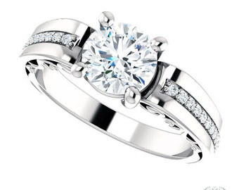 14k White Gold Engagement Ring - Scrollwork Bridge - 1.18ctw Diamonds and Forever Brilliant Moissanite