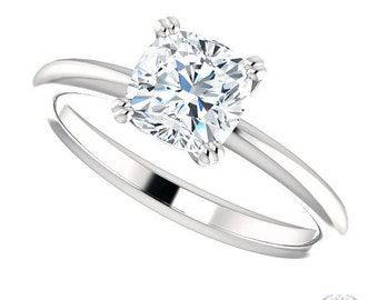 1.10ct Forever One Cushion Cut Solitaire Engagement Ring - 'The Engagement Ring Specialists' - Item #PN569