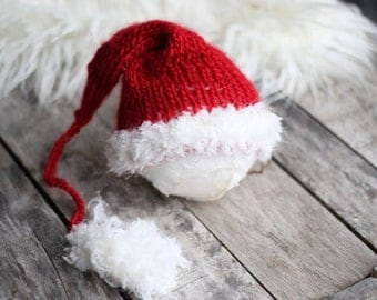 Knitting PATTERN- Santa Sleeping Hat, Santa Hat, Knit Santa Hat