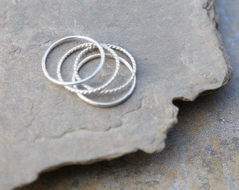 Sterling silver stacking rings, set of 4  rings