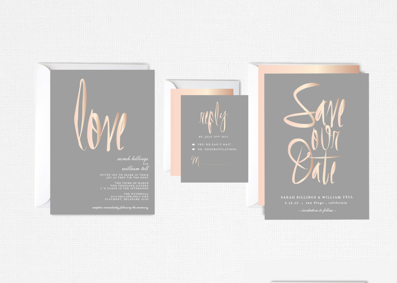 Wedding Invitations Rose: Rose Gold Wedding Invitation Blush Gray Elegant Modern