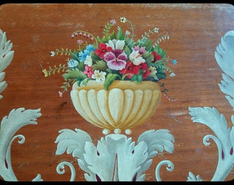 Vintage big swedish handpainted vaneer tray
