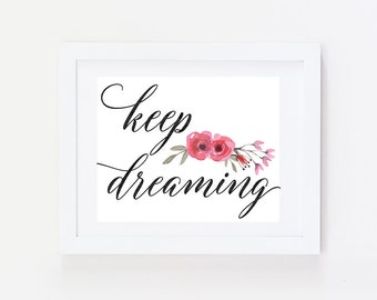 Bedroom Wall Art - Over Bed Decor - Keep Dreaming - Office Decor - Bedroom Wall Decor - Master Bedroom Decor - Bedroom Art - Bedroom Print