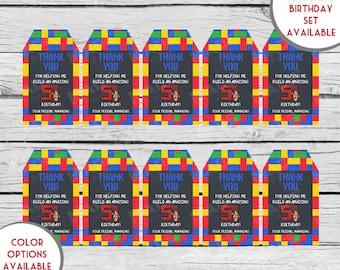 Digital Personalized Chalkboard LEGO Gift Tags, First Birthday, Second Birthday, Girl Birthday, Boy Birthday, Stationery, Printable