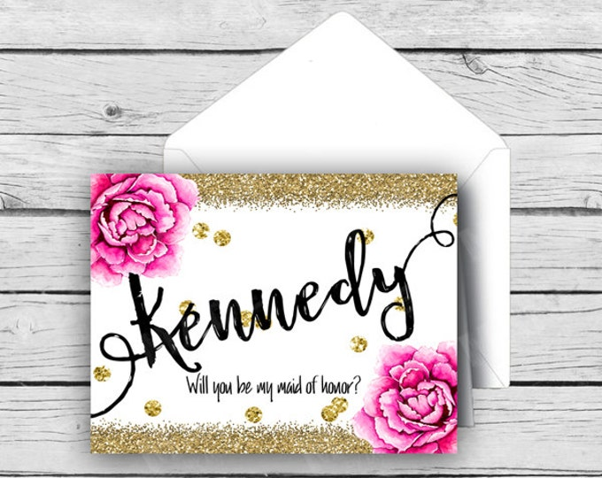 Printed BRIDAL PARTY Will You Be In My WEDDING Folded Note Cards - Gold Glitter Pink Peony, Wedding Note Cards, Stationery