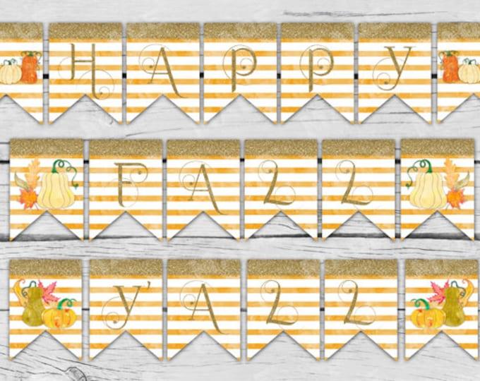 HAPPY FALL Y'ALL Banner - Digital, Fall, Autum, Home Decor, Seasons, Stationery